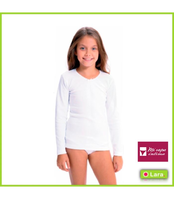 Camiseta niña algodón termico manga larga camiseta de Lara interior