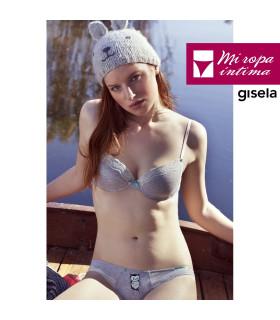 Conjunto de algodón gris vigoré dibujo de un búho Sujetador y Braguita Gisela 2/0199