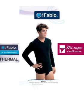 Camiseta Termal Algodón Manga Larga Cuello de Pico Fabio 8283
