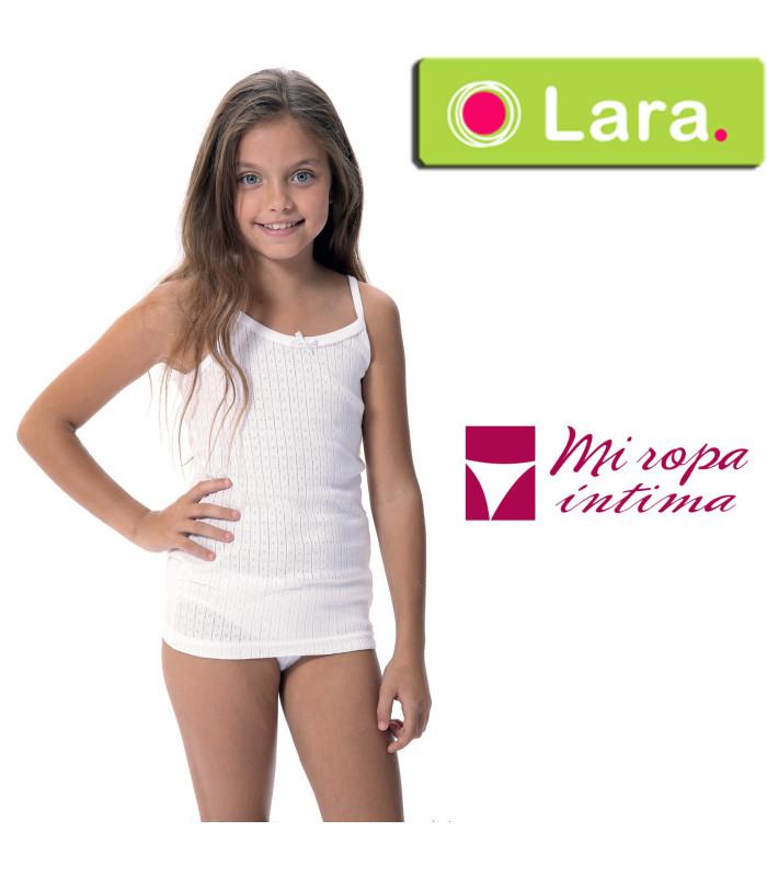 Camiseta tirante calada niña Lara 8640