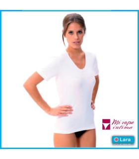 Camiseta manga corta cuello pico mujer 8300 LARA