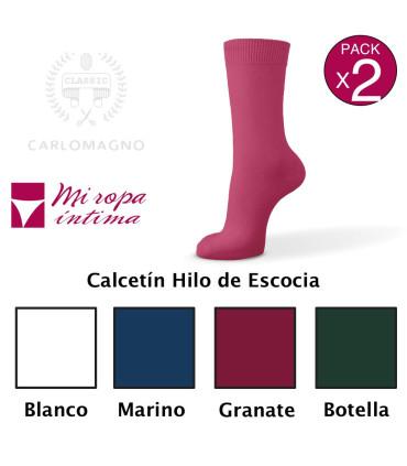 Pack-2 HILO DE ESCOCIA CALCETINES CARLOMAGNO NIÑO-NIÑA ref.500