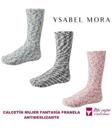 CALCETIN DE FRANELA ANTIDESLIZANTE DE MUJER DE YSABEL MORA REF: 12629