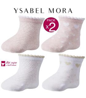 PACK-2 CALCETINES DE RECIEN NACIDOS DE FANTASIA DE YSABEL MORA REF:62134