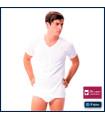Camiseta hombre manga corta cuello pico 8552 FABIO