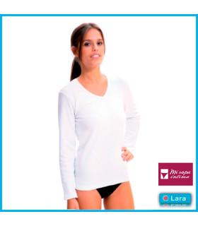 Camiseta interior manga larga cuello pico de mujer ref. 8310 de LARA